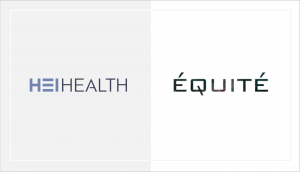 white and gray image of hei health and equites logo to signify their partnership